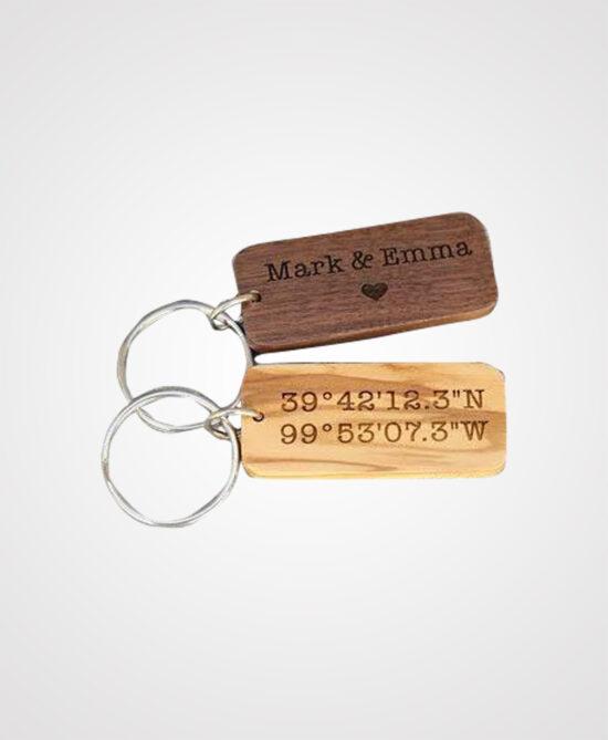 Custom Wooden Square Keychain