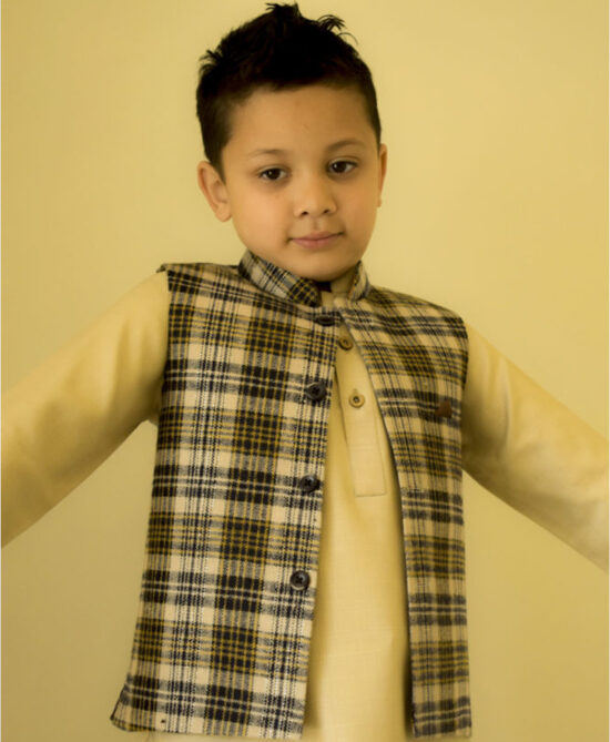 Beige Black and Brown Mix Check Waistcoat