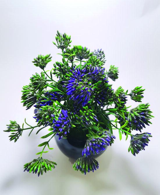 Artificial Green Purple Bonsai Plant With Black Pot