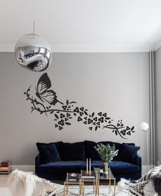 Butterfly With Flowers Set Wall Art